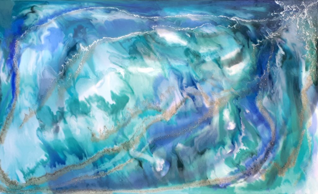 MJ Blauw resin art schilderij epoxy workshop Antoynette Anema