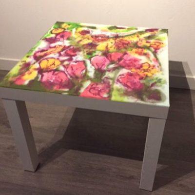 RJ epoxy tafeltje bloementuin epoxyworkshop Antoynette Anema