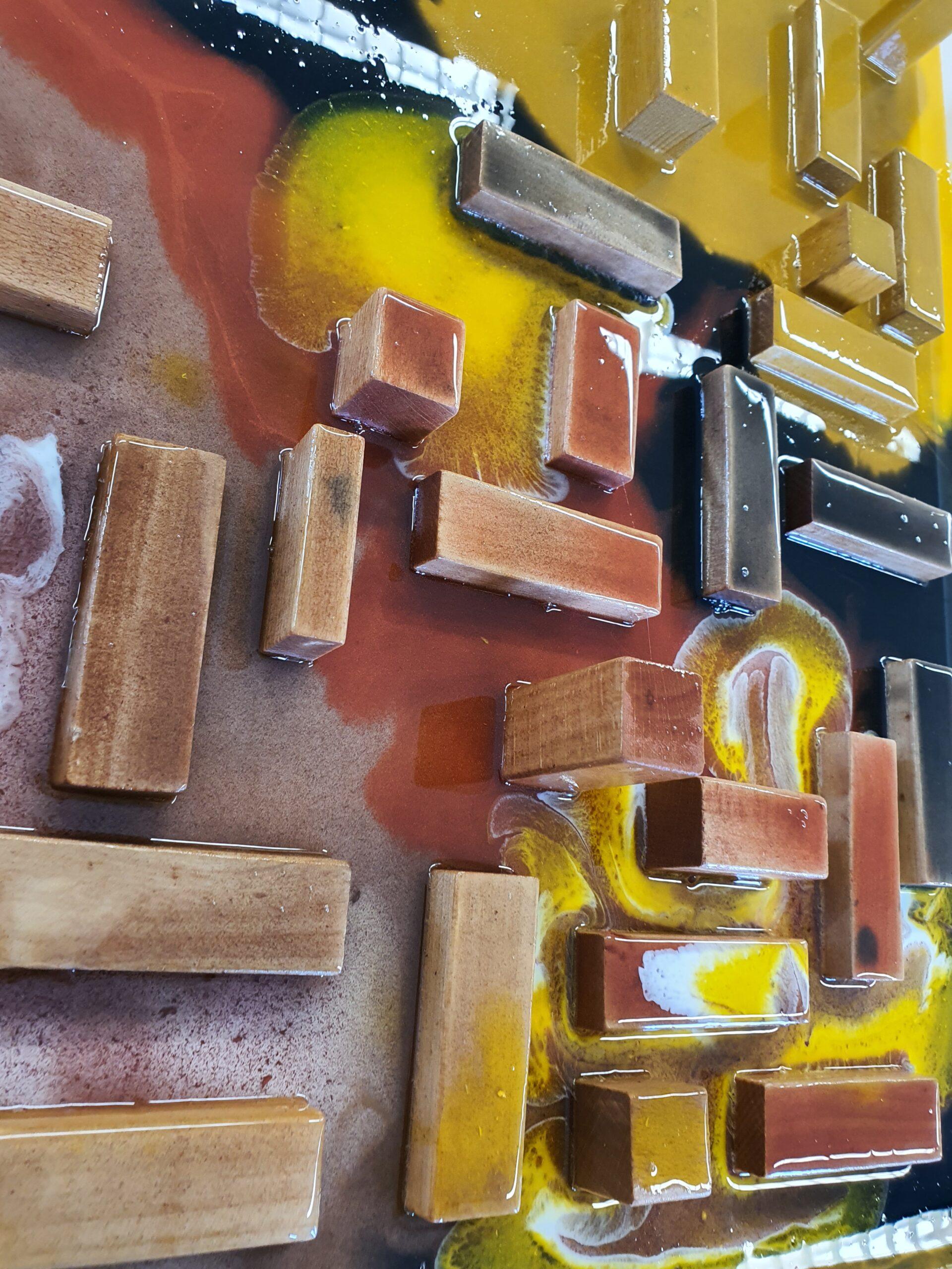 Epoxy met houtblokken detail epoxyworkshop antoynette anema
