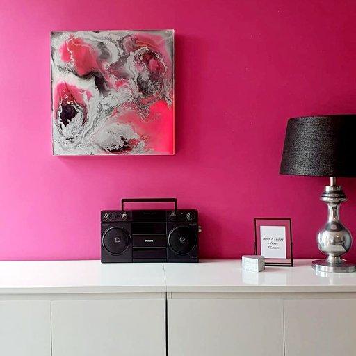 Epoxy schilderij roze en zilver epoxyworkshop.nl Antoynette Anema