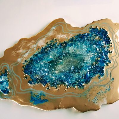 Epoxy geode goud turqoise