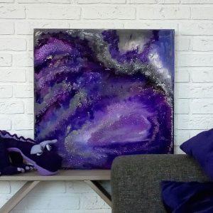 HDW epoxy schilderij paars interieur epoxyworkshop